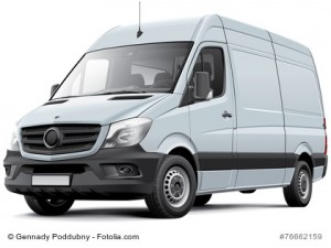 High quality vector image of European delivery van, isolated on white background. File contains gradients, blends and transparency. No strokes. Easily edit: file is divided into logical layers and groups.